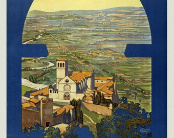 Vintage Travel Poster A4 of Assisi Italy