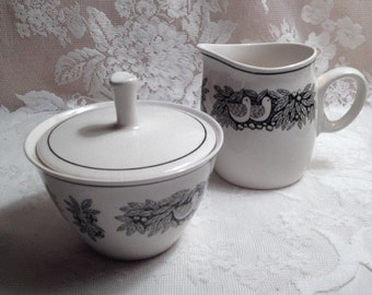 Bird N' Hand Franciscan White Stone Ware Surgar and Creamer Sold as Set
