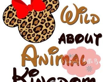 Wild about Animal Kingdom Minnie Mouse Disney INSTANT DOWNLOAD Printable Digital Iron-On Transfer Design - DIY - Vacation - Matching Shirts