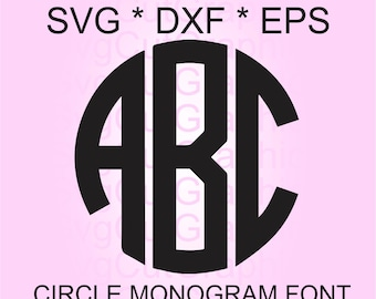 Circle Monogram SVG Font, Svg Files, Svg Monogram Font, SVG Cutting Fonts,  Svg Files for Cricut, Cricut Svg Font, Silhouette Svg Font