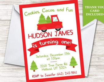 Christmas First Birthday Invitation Boys Red Truck Invite Tree 5x7 Digital Personalized ANY AGE