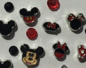 Mickey and Minnie Floating Charms