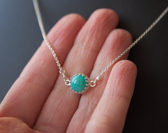Mint Green Amazonite Sterling Silver Necklace, Amazonite Necklace, Spring Necklace, Amazonite Jewelry, Amazonite Pendant, Spring Jewelry