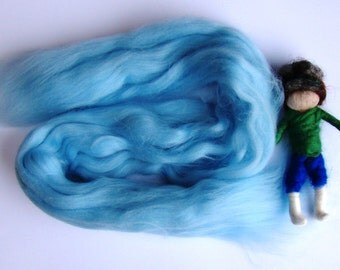 merino roving wool uk, needle felting wool, blue guardian angel wool, nursery fairy wool, fairy kit wool, merino for spinning from jade shen
