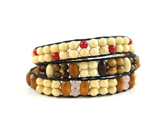 3 pair Mix and Match Wood Bead Bracelets