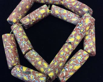 13 Unusual Terracotta with Yellow Star Venetian African Trade Beads