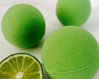 Lime and sugar cane natural vegan bath bomb