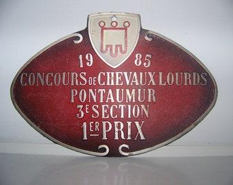 Plate contest prize horse Auvergne France 1985