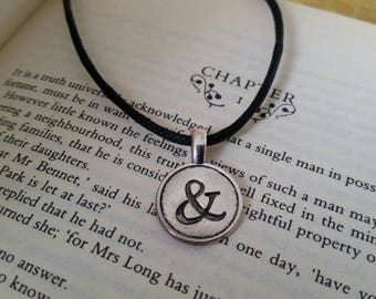 Ampersand necklace, book lover gift, bookworm necklace, punctuation mark, literary gift