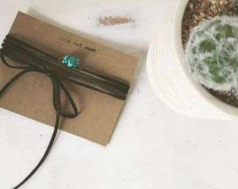stacked turquoise nugget wrap necklace