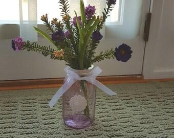 Purple Mason Jar Centerpiece, Spring Centerpiece, Purple Tinted Mason Jar, Rustic Home Decor and Wedding, Party Centerpieces