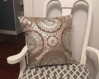 burlap pillow - burlap and metallic pillowcase - metallic pillow - burlap throw pillow - burlap couch pillow - metallic pillowcase - burlap