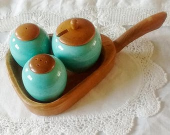 Cruet set, salt pepper and mustard pot on wooden tray, Made in Sweden