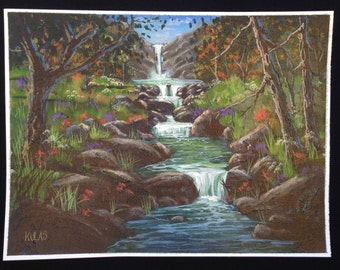Original Hand Painted Acrylic Painting Out Door Scenery Landscape Waterfall