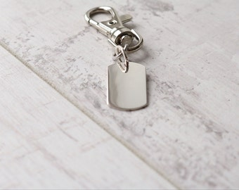 Personalised Silver Dog Tag Key Chain - Gift For Him - Gift For Dad