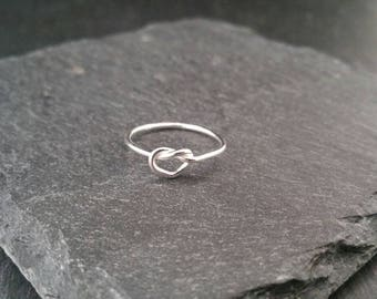 925 Sterling Silver Dainty Heart Knot Stacking Statement Ring UK Size L, N, P Gift Wrapped