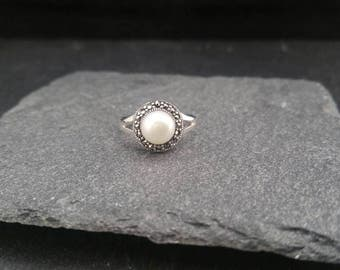 Sterling Silver Button Design Marcasite Stacker Ring With Fresh Water Pearl Uk Size N P Gift Wrapped