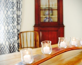 Five candle votive holder with glasses