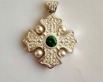 Silver Maltese Cross, Malta Cross,  Maltese Cross Pendant 3.8cm, Handmade Maltese Cross Pendant,Clear Stone