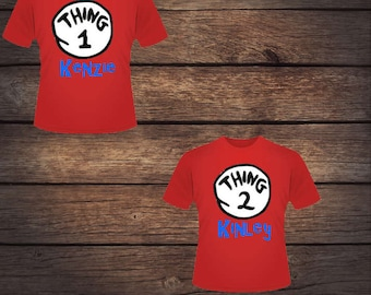 Personalized Thing 1 or Thing 2 Shirts