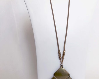 Brass Geometric And Suede Chain Necklace