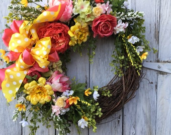 A Bright Cheery Spring Door Wreath, Summer Wreath, Easter Floral Wreath, Mother's Day Wreath, Home Décor, Door Wreath, Door Décor