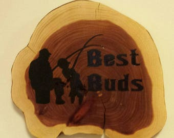 Woodburned Tree Slice for Father or Grandpa