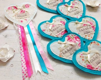 Heart Shaped Hen Party Badge Set, Baby Shower Badge, Hen Party Gift, Shabby Chic Badge