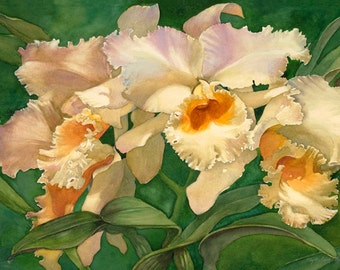 Orchid, art watercolor painting giclee print 15x22, wall decor, tropical, white, orange, greens, by Phyllis Nathans, great gift