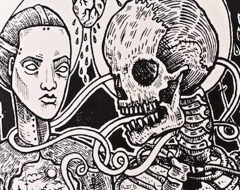 Surreal Death Horror Gothic  Silkscreen dark art macabre skeleton landscape heavy metal Screen Print by TM