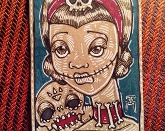 Gothic Bone Girl ACEO Original Drawing, Miniature Gothic Surreal Horror monster chick collectible trading card size art by TM