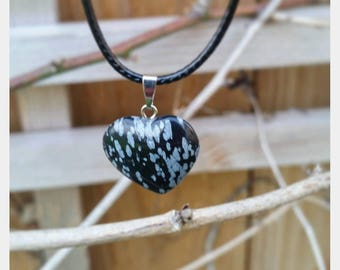 Snowflake Obsidian Heart Necklace