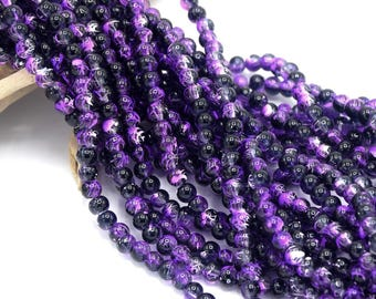 Beads glass speckled purple round 4mm batch of 20/40/60/80/100 units
