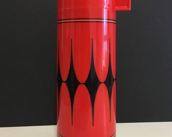 Vintage Aladdin Red and Black Harlequin Patterned Thermos