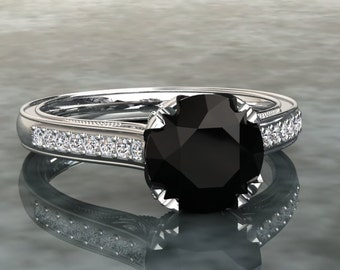 1.00 Carat Natural Black Diamond and Diamond Engagement Ring In Either 14k, 18k White Gold, Or Platinum CF16BKW