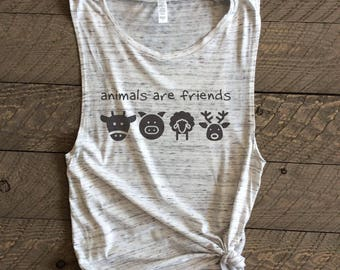Animals are Friends muscle tank, vegan muscle tank, vegetarian muscle tank, muscle tank,Vegan,Vegetarian, vegan shirt,animal are friends