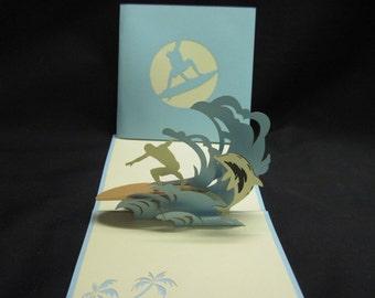 3-D Surfer Pop-Up Card