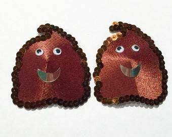 Poop Emoji Burlesque Pasties with Sequins, Googly Eyes, Comedy