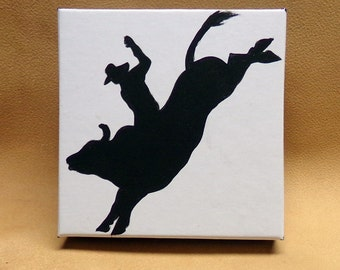 RODEO BULL RIDER Gift Box Original Hand Painted Art Western Cowboy Trish McMurry Art