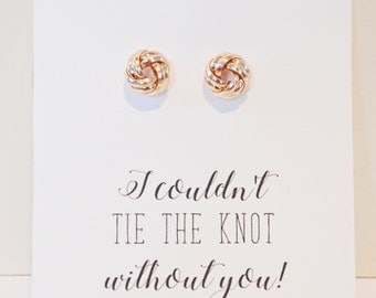 """Rose Gold """"Love Knot"""" Earrings, Small Dainty Studs Bridal Bridesmaid Wedding Gifts"""