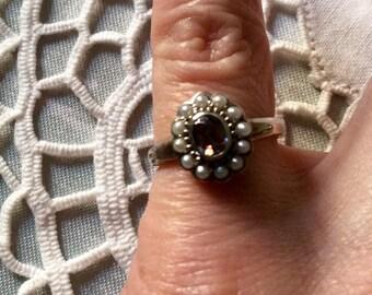 VINTAGE BEAUTIFUL Seed Pearl RING - Mystic Topaz - Genuine Pearls - Sterling silver - Very Nice Vintage Ring
