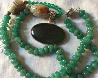 Exceptionnel Antique HAND CARVED JADE Necklace- Jade Nephrite- Beautiful  Hand made- Genuine stone- Sterling silver- Antik from France