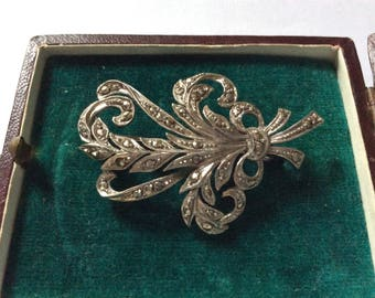 ANTIQUE BROOCH Solid silver - Marcasite - Very beautiful-Hallmarks - authentic Antique jewelry-Nice Hand made