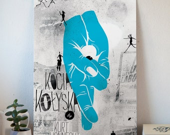 "big polish poster inspired by Vonnegut's ""Cat's Cradle"", b2 indigo print, signed by author"
