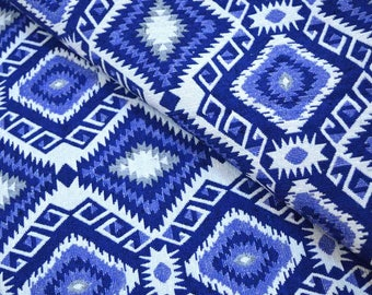 Blue and White Jacquard Cotton Upholstery Fabric by the Yard