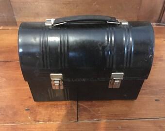 Vintage 1950's Aluminum Black Lunch box
