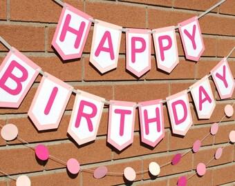 Birthday Banner Personalized - Pink Birthday Banner - Birthday Party Decoration - Happy Birthday Sign - Baby Girl Birthday Banner