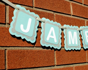 Baby Boy Nursery Decor - Personalized Name Banner - Personalized Gift - Personalized Baby Gift - Kids Room Decor - Custom Name Banner