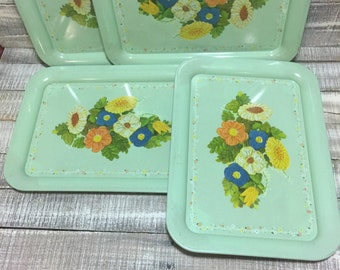 Vintage Lap Trays, Vintage Metal Lunch tray, Vintage Serving Tray, Mid Century Snack atray