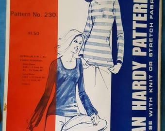 1972 Jean Hardy Patterns 230 Misses Stretch Knit T Shirt Sewing Pattern Uncut